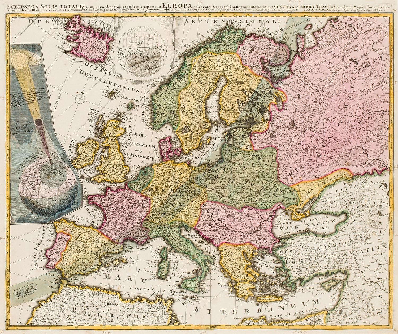 Mapa Europy z trasą zaćmienia słońca z 12 maja 1706 (Eclipseos Solis Totalis cum Mora, d. 12 Maji 1706), 1706
