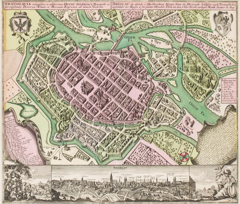 Mapa Wrocławia (Wratislavia Antiquissima et Celeberrima Ducat), 1735