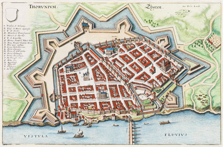 Toruń, widok miasta z lotu ptaka (Thorunium - Thoren), 1652