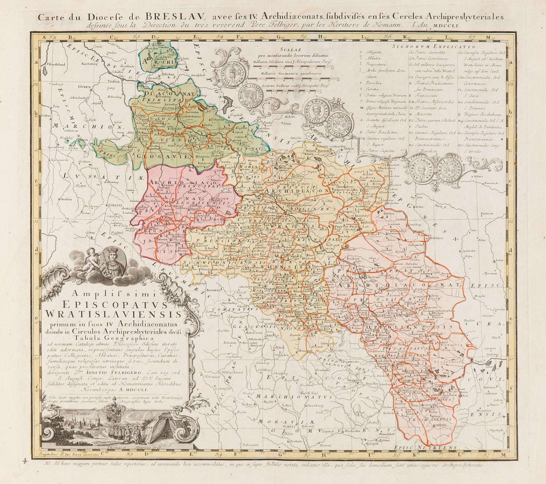 Mapa diecezji wrocławskiej (Amplissimi Episcopatvs Wratislaviensis), 1757