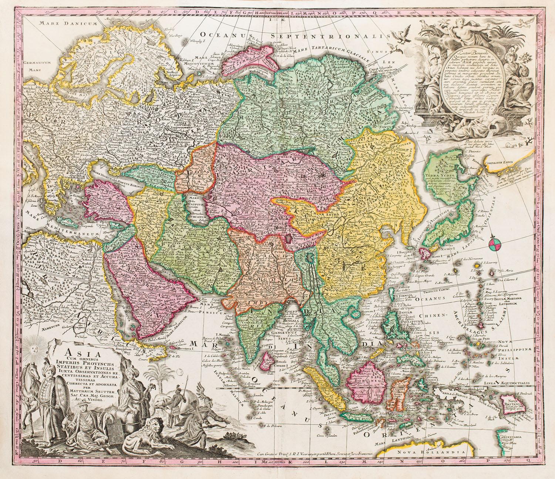 Mapa Azji (Asia Cum Omnibus Imperiis Provinciis), 1740
