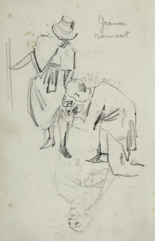 U krawca – Kobieta pochylająca się i klęczący przy niej mężczyzna trzymający rąbek jej sukienki oraz szkic popiersia duchownego