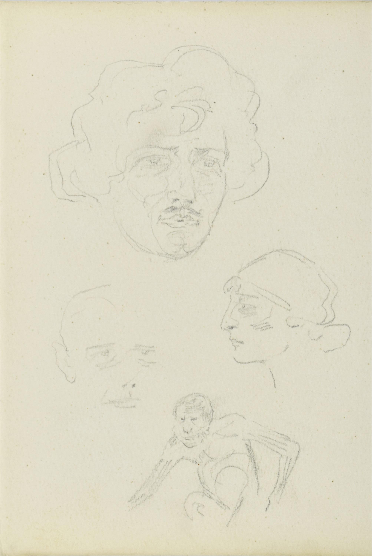 Szkice głów mężczyzn i kobiety oraz postaci małpy, 1922