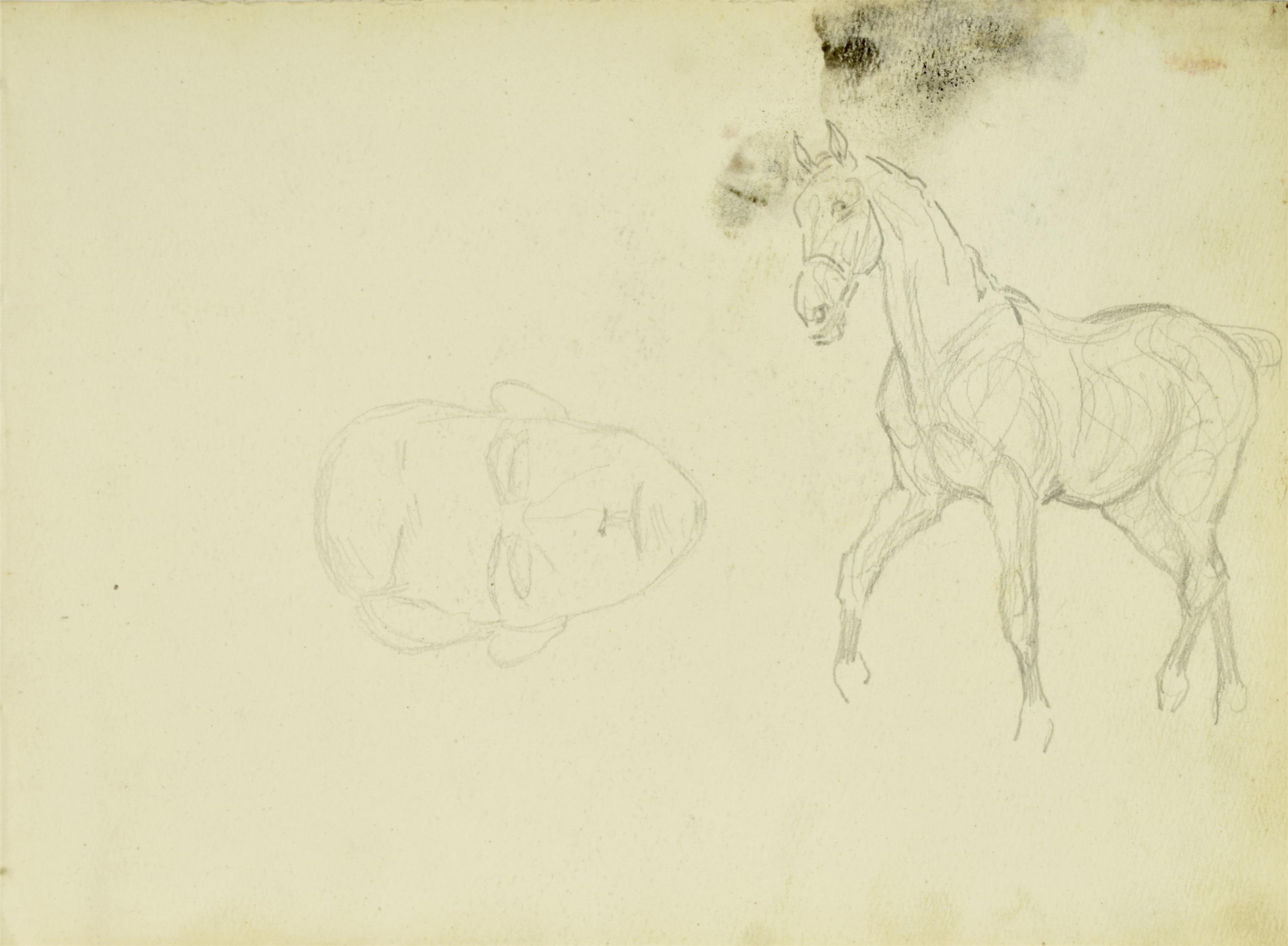 Studium konia idącego stępa, zarys głowy mężczyzny, 1922