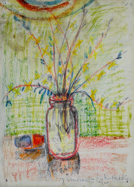 Gałązki z żółtymi kwiatkami w szklanym słoju