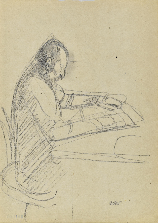 Mężczyzna czytający przy stole – Portret ojca artysty Stanisława, 1914