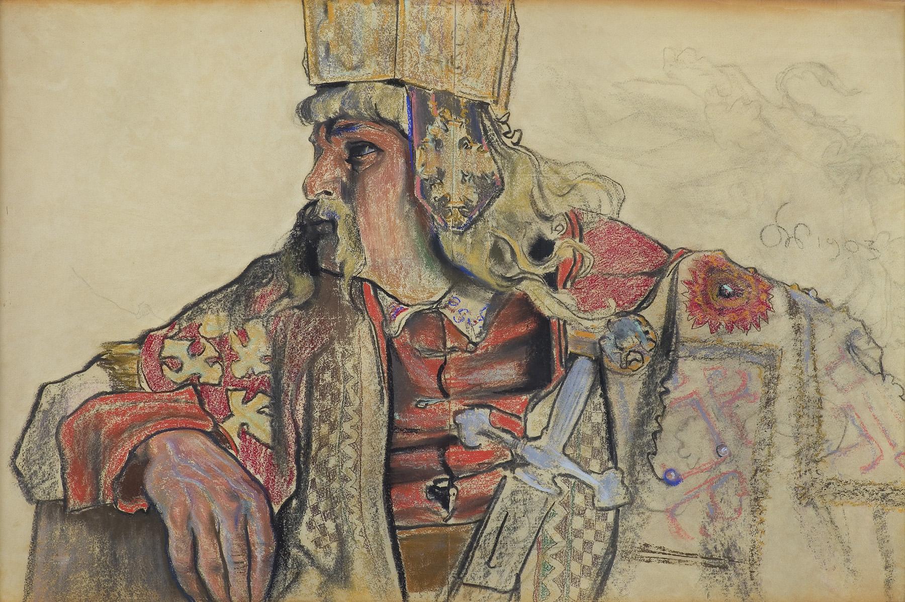 JÓZEF SOSNOWSKI W ROLI KRÓLA BOLESŁAWA W SZTUCE BOLESŁAW ŚMIAŁY STANISŁAWA WYSPIAŃSKIEGO, 1903