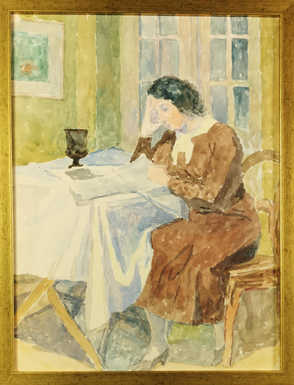 Pani Wanda P. czytająca gazetę