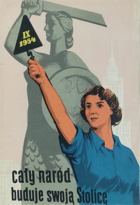 Plakat: Cały naród buduje stolicę, 1954
