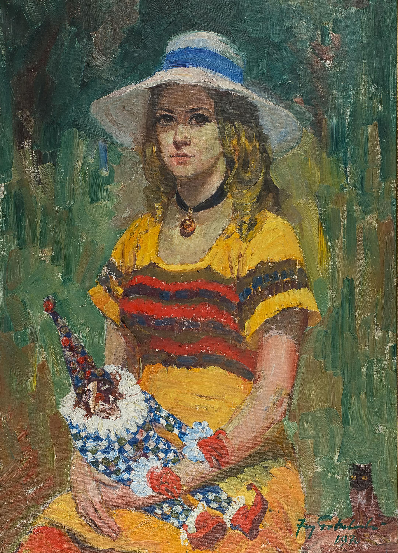 Dziewczyna z arlekinem i kotkiem, 1970 r.