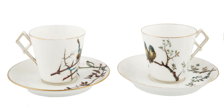 Para filiżanek z ptaszkami, Guerin & Cie, Paryż, Limoges, k. XIX w.