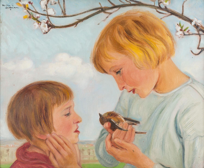 Dzieci z ptaszkiem w dłoniach