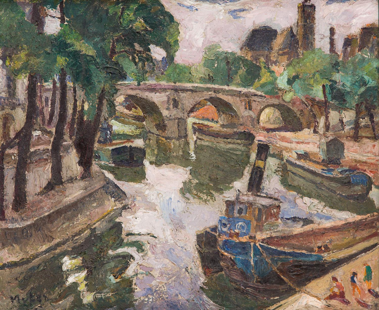 Widok na Pont Marie w Paryżu, około1946