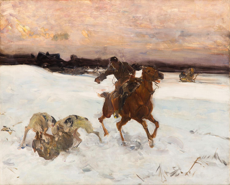 Zimowe polowanie z chartami, po 1900