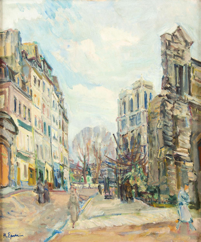 Uliczka w Paryżu z widokiem na Notre-Dame, około1930