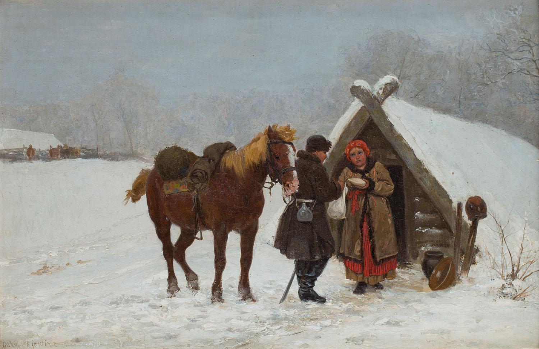 Zimowa scena przed chatą, 1880