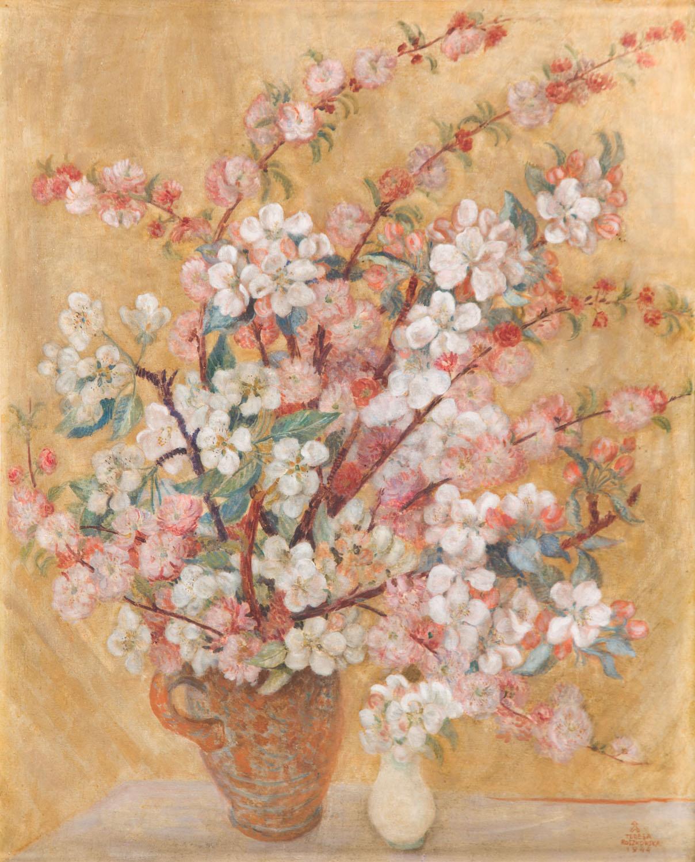 """Kwiaty jabłoni w wazonie (""""Białe kwiaty""""), 1944"""