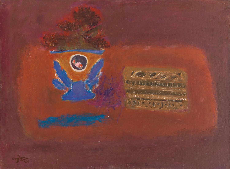 Martwa natura z niebieskim wazonem i pudełkiem do szycia, 1964