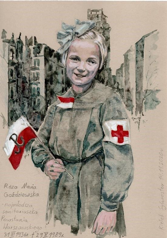 Portret sanitariuszki; Portret Róży Marii Goździewskiej, najmłodszej sanitariuszki Powstania Warszawskiego
