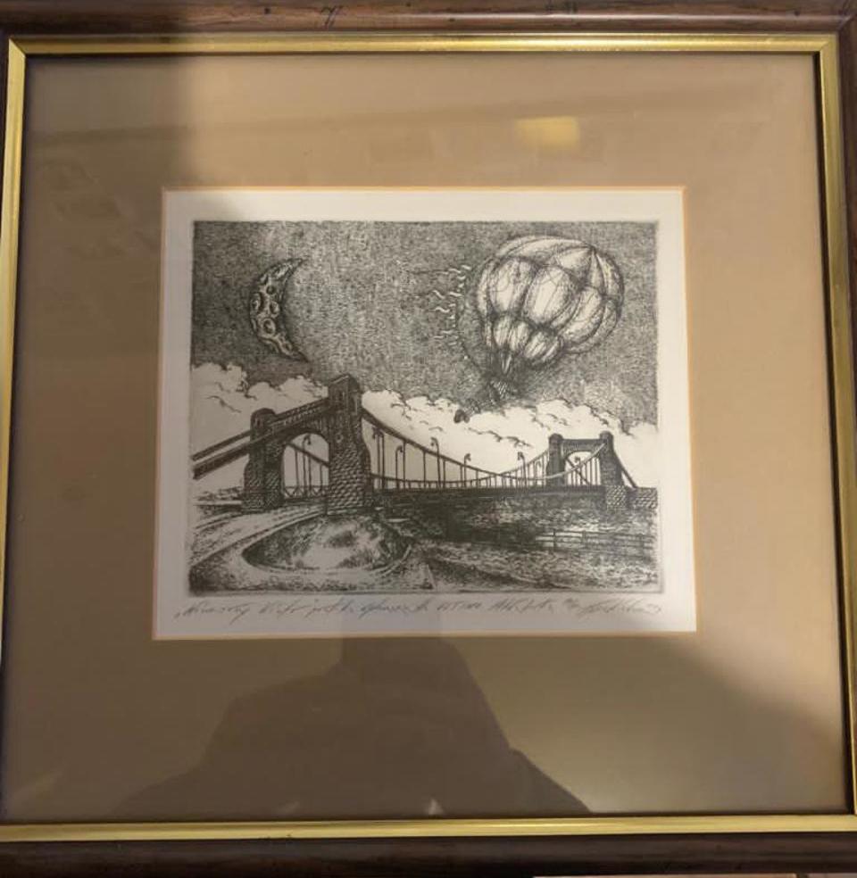 grafika z motywem Mostu Grunwaldzkiego we Wrocławiu