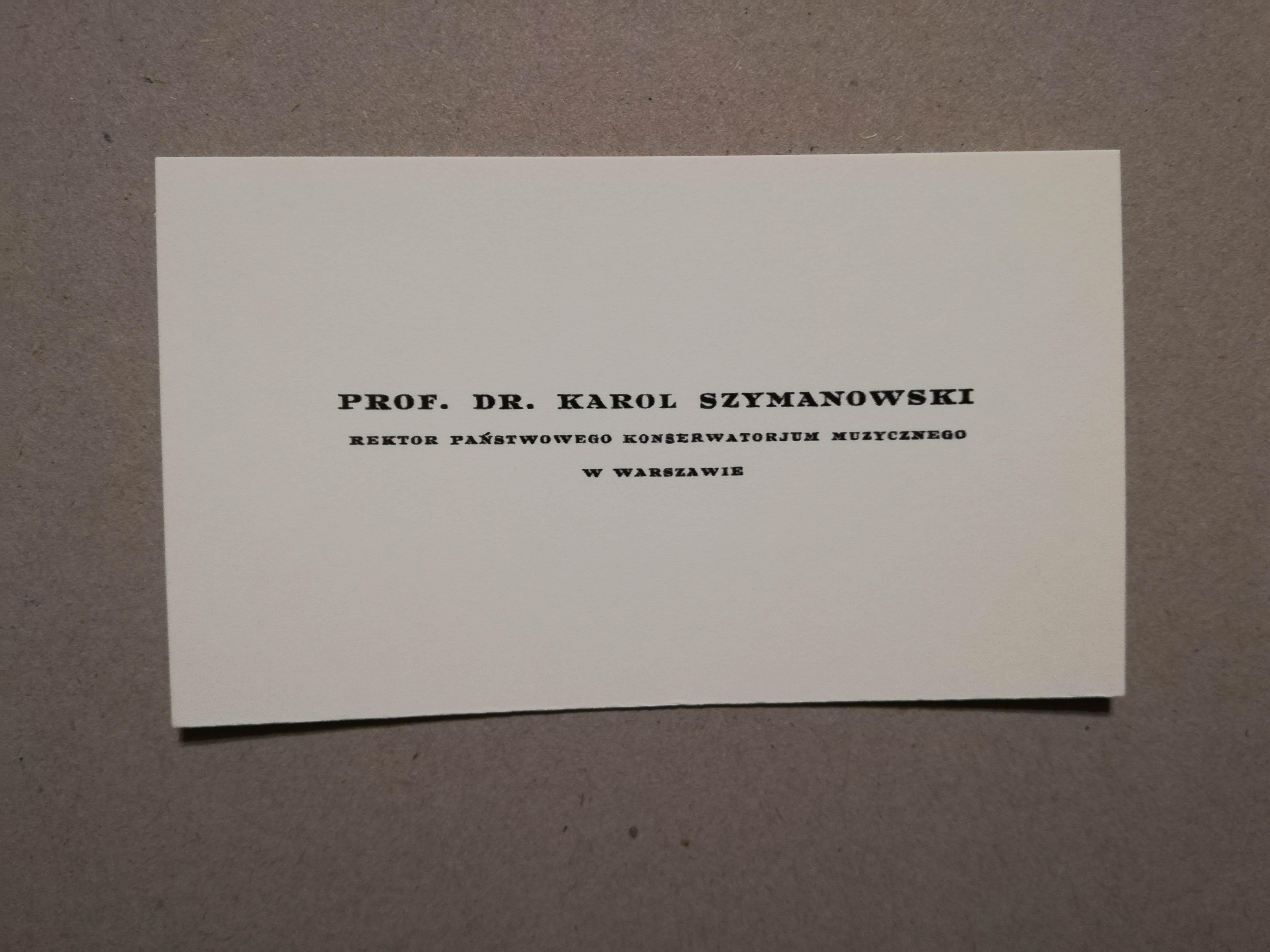 Bilet wizytowy Karola Szymanowskiego z okresu 1930-1932