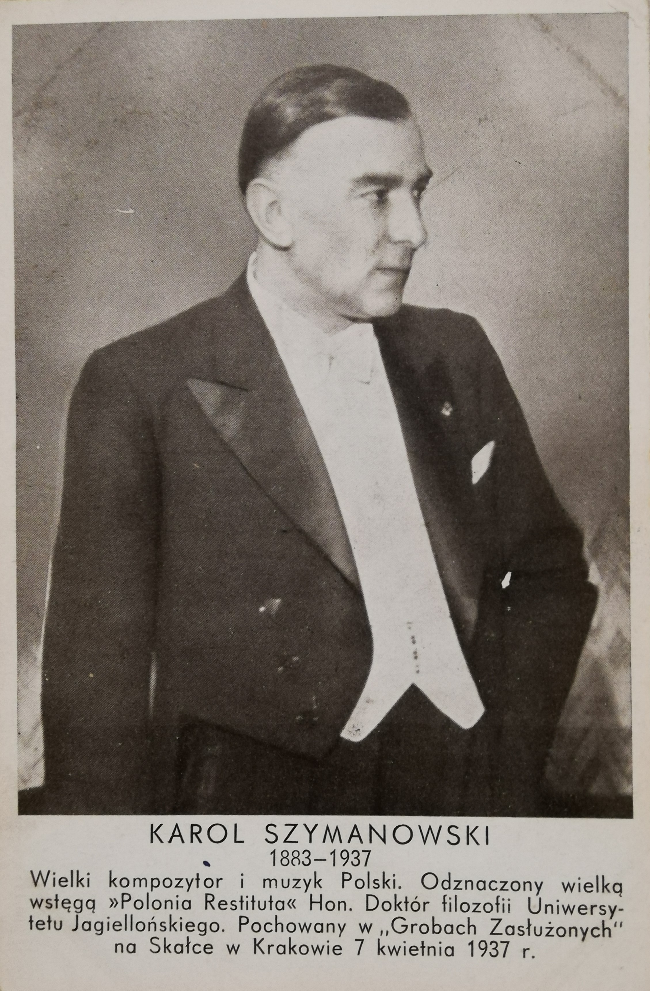 Karta pocztowa z pogrzebu Karola Szymanowskiego w Krakowie w 1937 roku