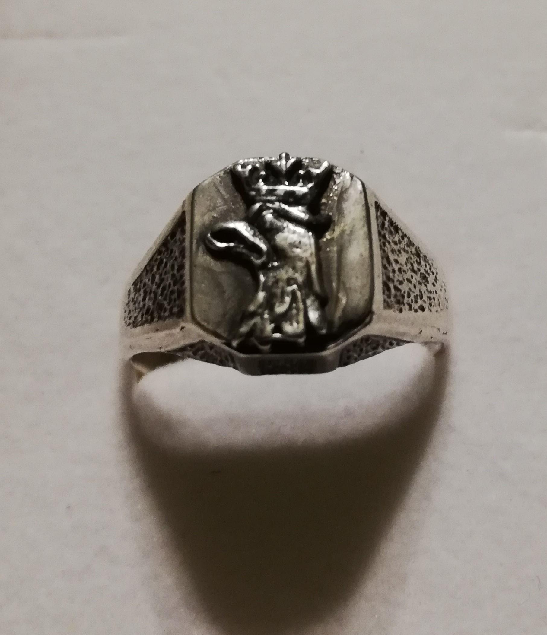 Sygnet srebrny męski w głową orła w koronie