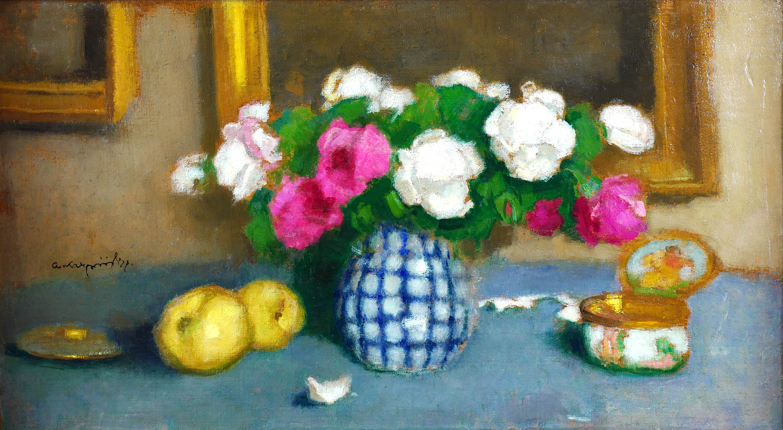 Martwa natura z różami, jabłkami i szkatułką, ok 1930 r.