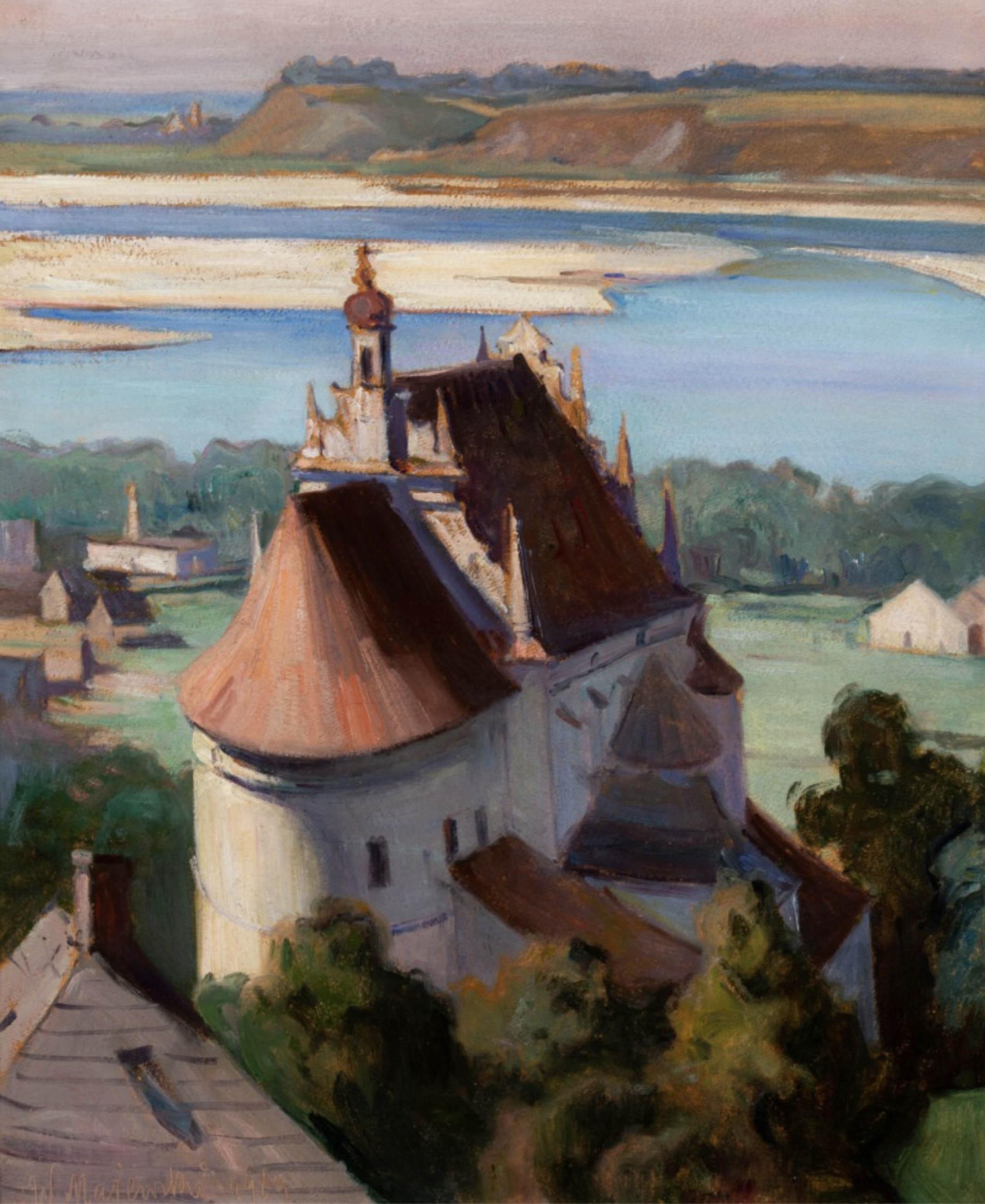 Widok na Kościół Farny i Wisłę w Kazimierzu Dolnym