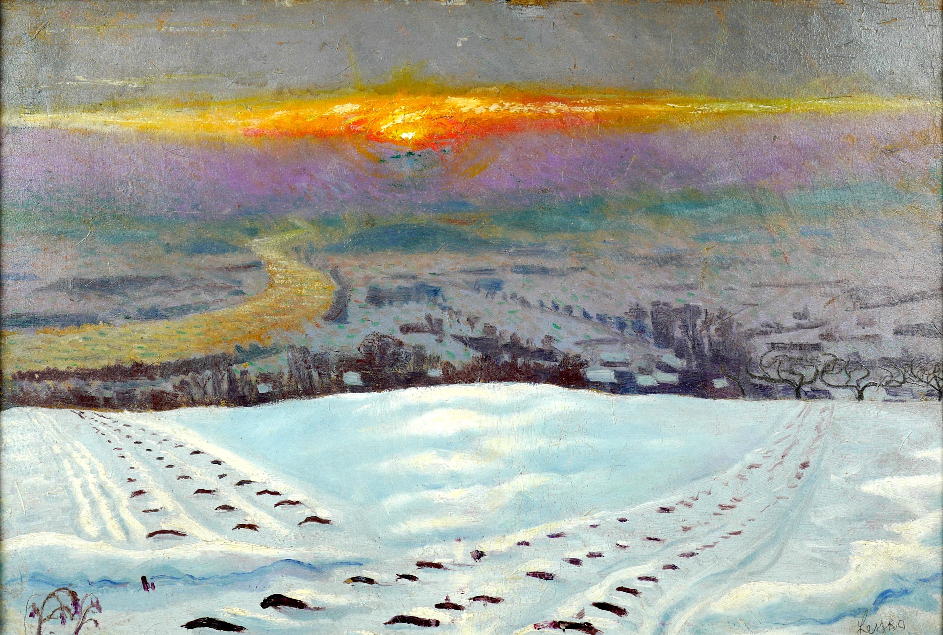 Zakole Wisły o zachodzie słońca, ok 1930 r.