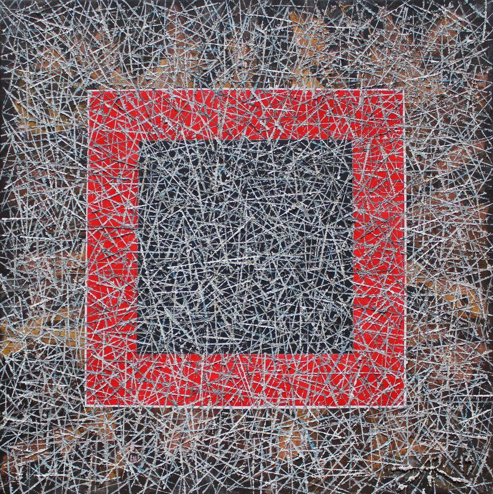 Czerwony kwadrat na szarym tle (2013)