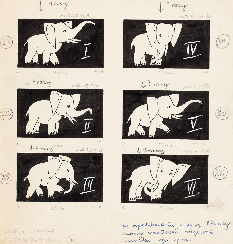 """""""Proszę słonia"""", storyboard ilustracji rozdziałowych, 1965"""