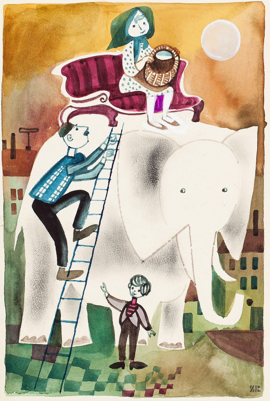 """""""Proszę słonia"""", ilustracja , 1963"""
