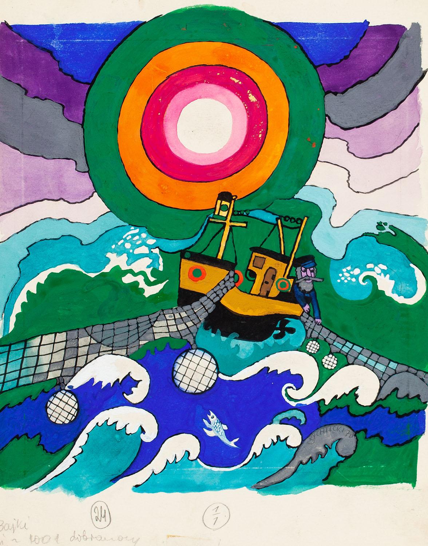 """""""Bajki z 1001 Dobranocy"""", Rybak, ilustracja, 1970"""