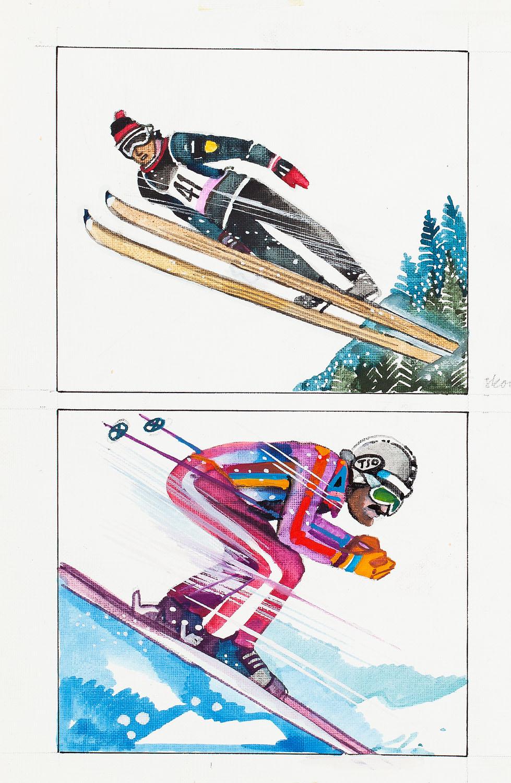 """Góry"", ilustracja podwójna: ""Skok"" i ""Zjazd"", 1978"