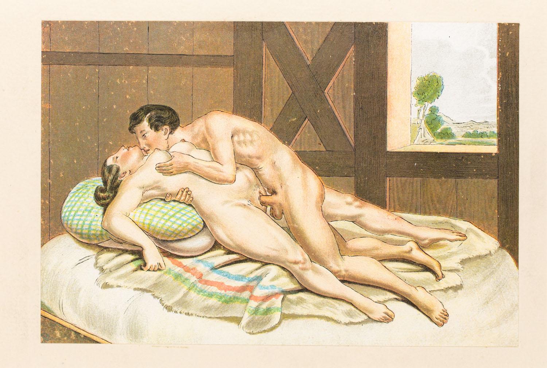 """Scena erotyczna z wydawnictwa """"Vierzig erotische Aquarelle in Faksimilereproduktion"""""""