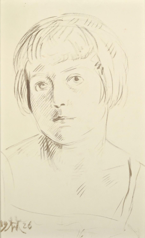 Portret dziewczynki   Półakt kobiecy (rysunek dwustronny), 1926