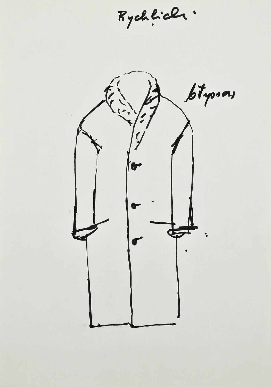 Projekt kostiumu postaci Wuja Józefa do spektaklu Wielopole, ok. 1980
