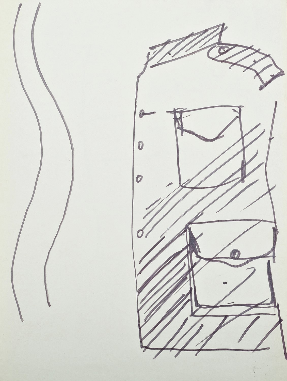 Projekt kostiumu (bluzy mundurowej) do spektaklu Wielopole, ok. 1980