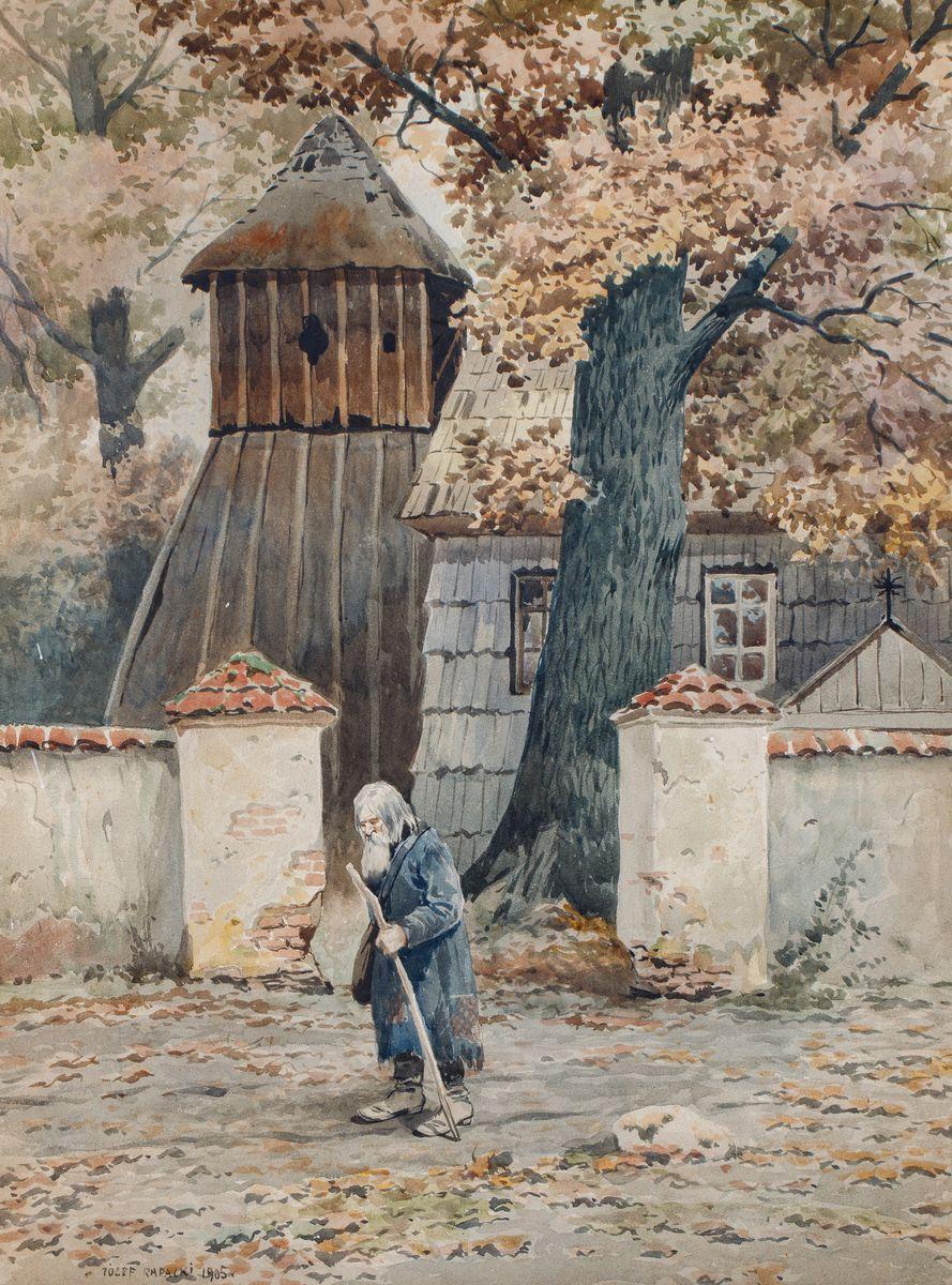 STARZEC PRZED WIEJSKIM KOŚCIOŁEM, 1905