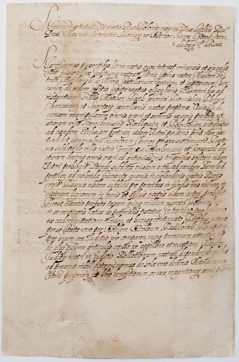 DEKRET SĄDU RELACYJNEGO, Polska, Warszawa, 29.11.1597