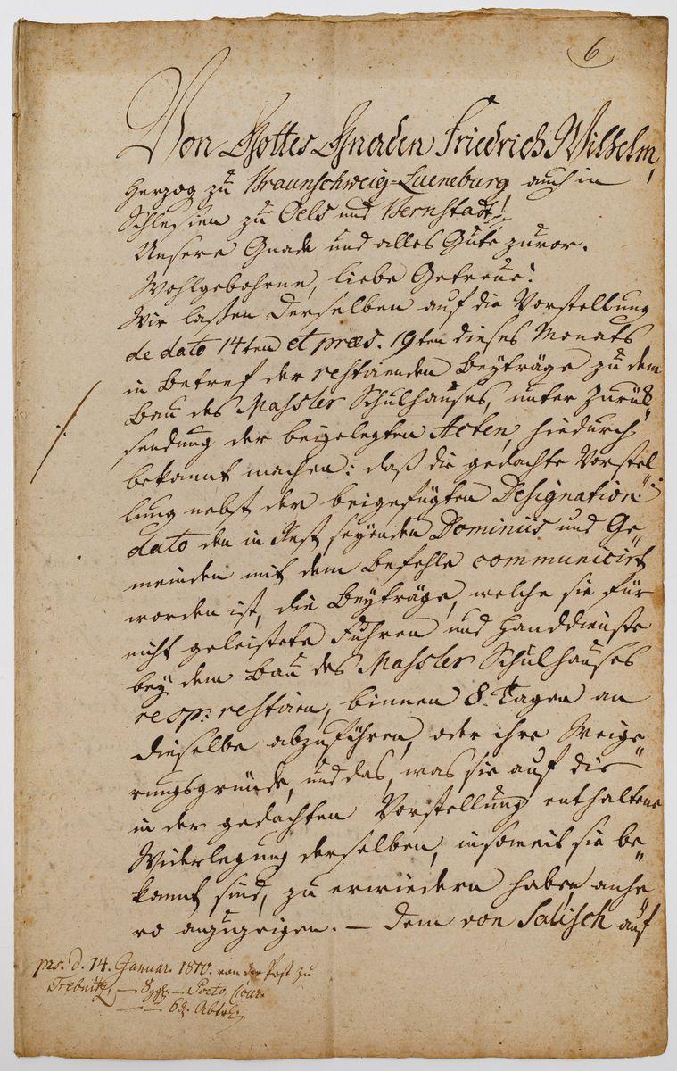DOKUMENT FRYDERYKA WILHELMA KSIĘCIA BRUNSZWIKU, LÜNEBURGA I OLEŚNICY, 14.01.1810