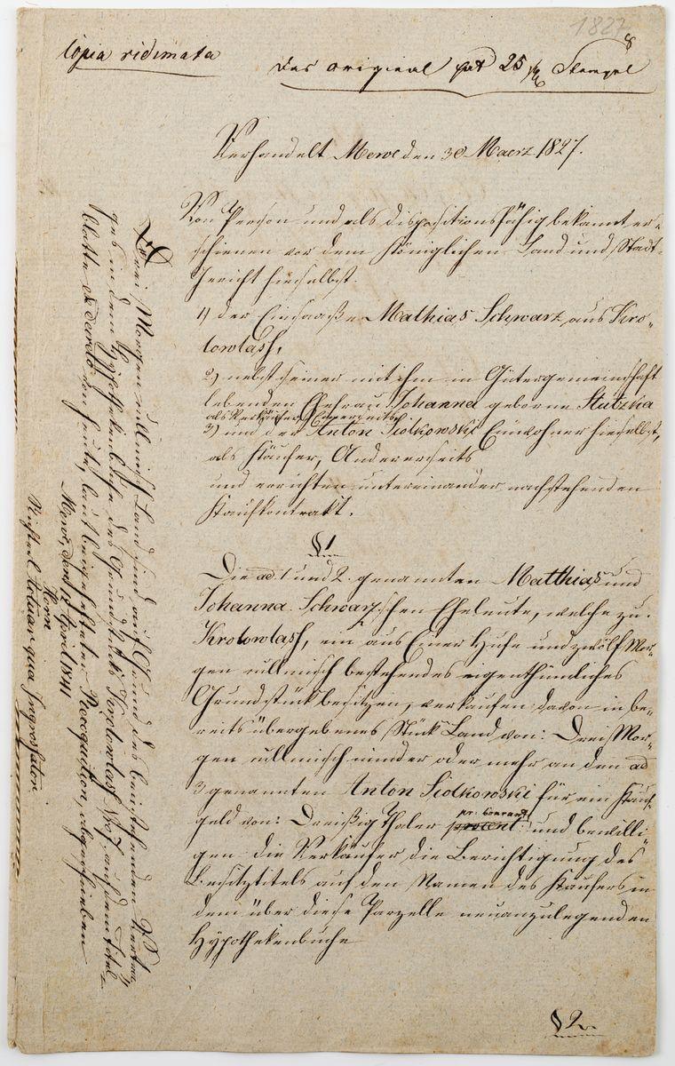 DOKUMENT, Gniew, 30.03.1827