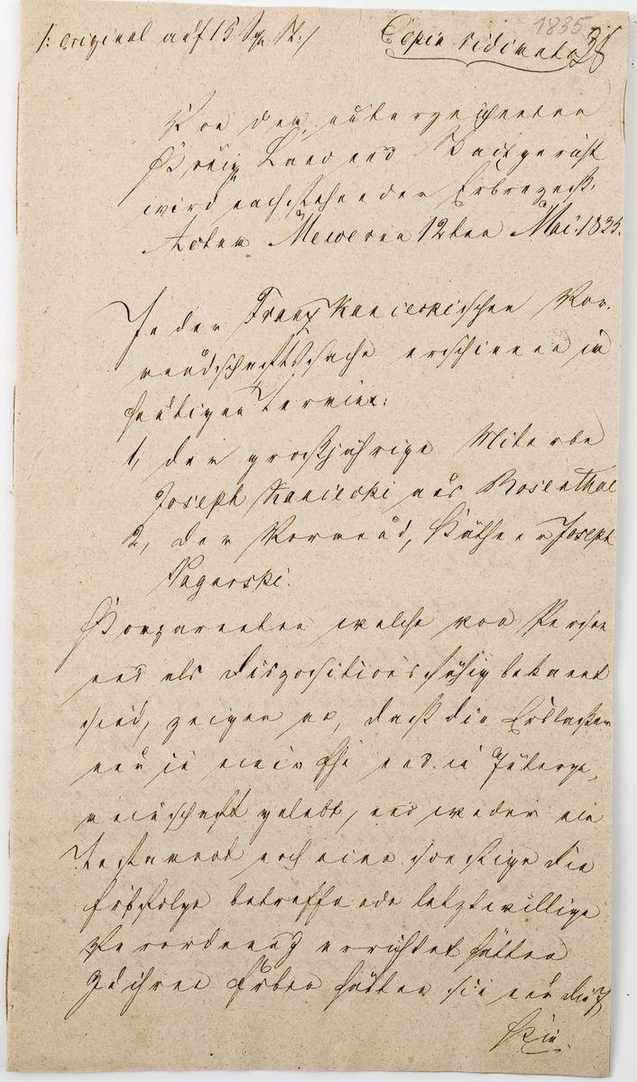 DOKUMENT, Gniew, 12.05.1835