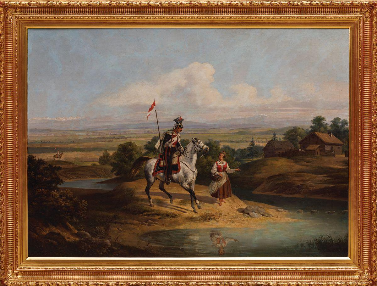 UŁAN 15 PUŁKU KSIĘSTWA WARSZAWSKIEGO (UŁAN I DZIEWCZYNA), ok. 1840