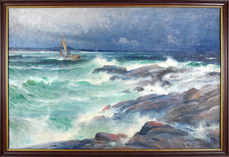Łódź na wzburzonym morzu, 1927 r.