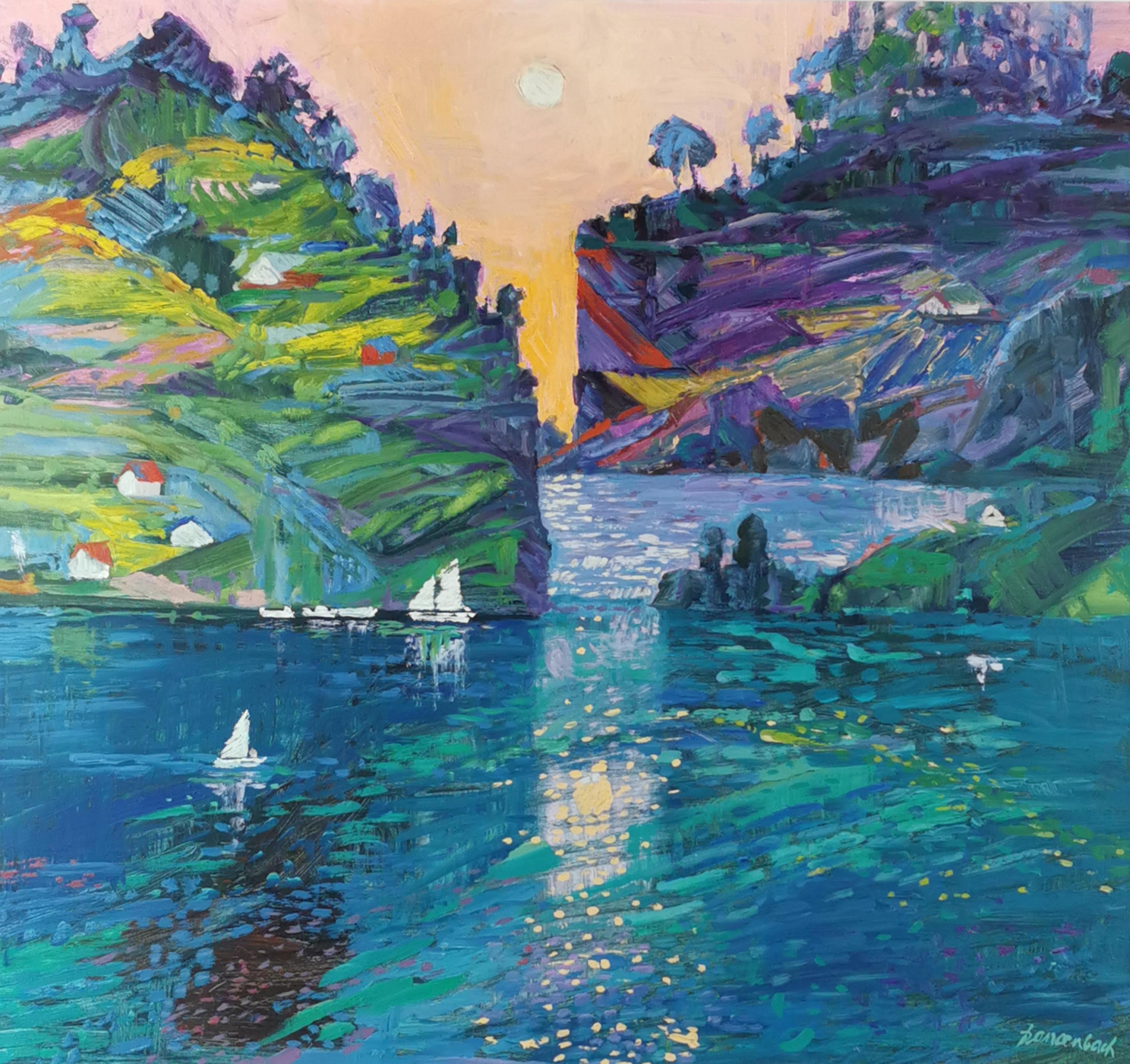 Pejzaż z Norwegii z łódkami, 1988