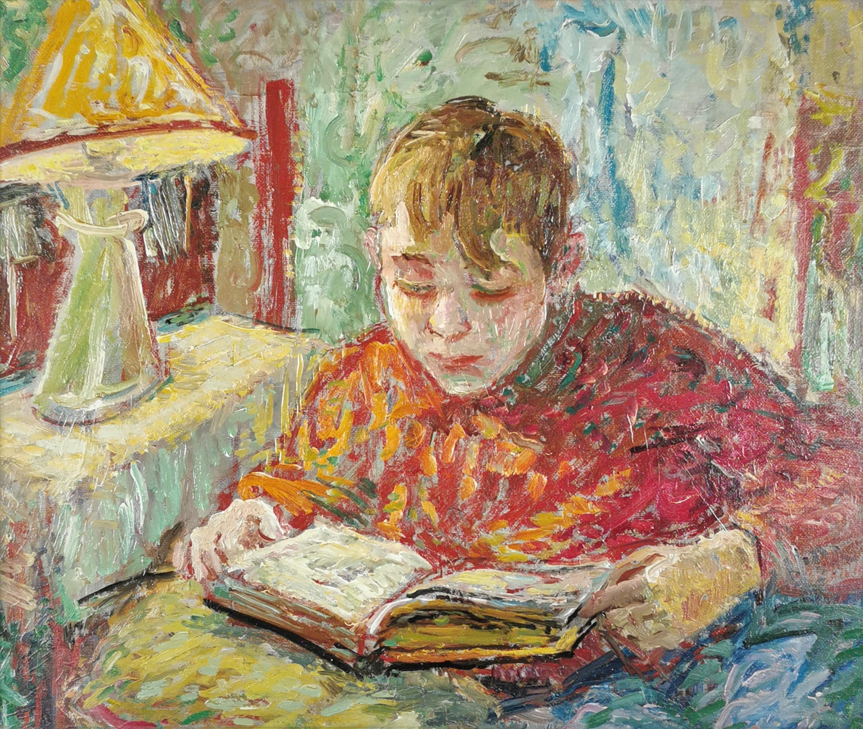 Chłopiec nad książką, lata 50.