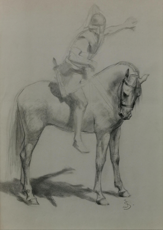 Studium postaci rzymianina na koniu