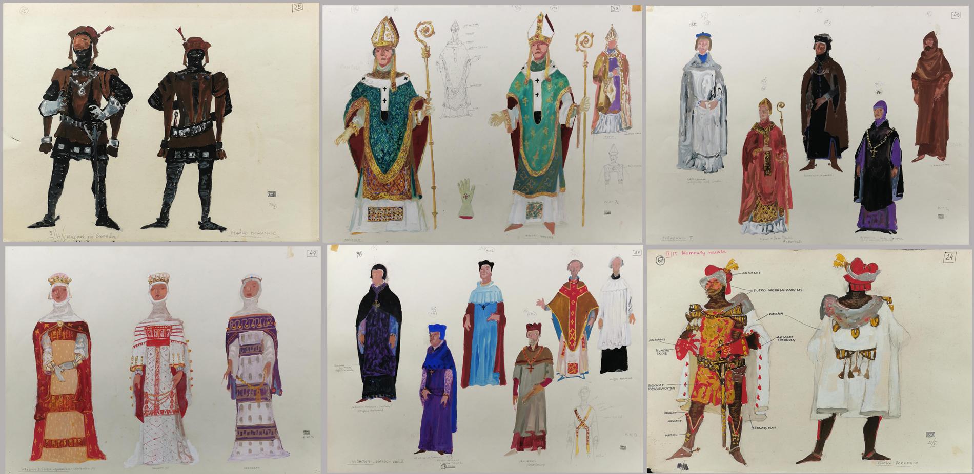 48 szkiców projektowych do kostiumów